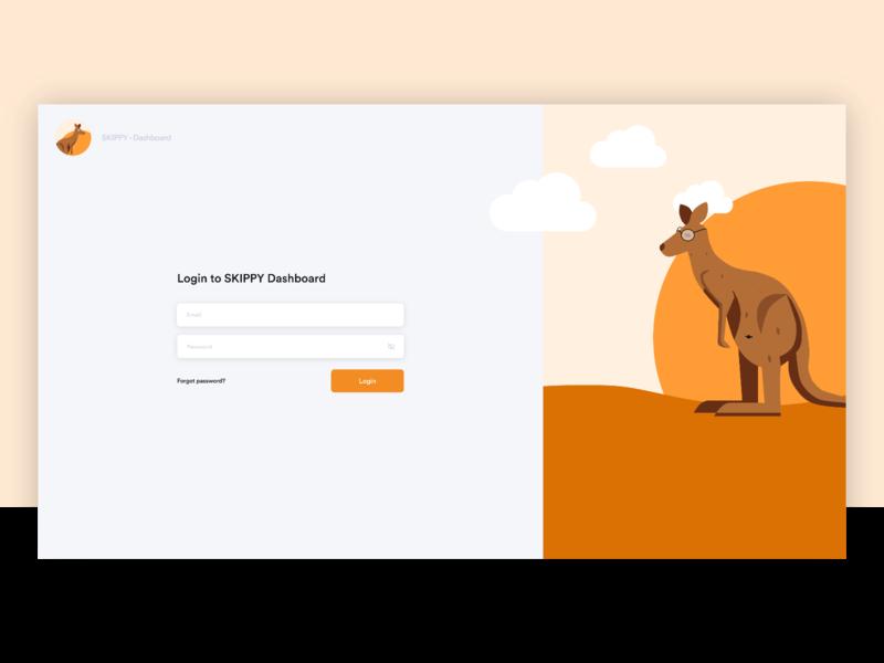 Dashboard login screen icon app vector flat branding ui illustration animals orange login design dashboard login