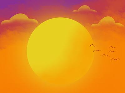 Sun sunset summer sun procreate illustration