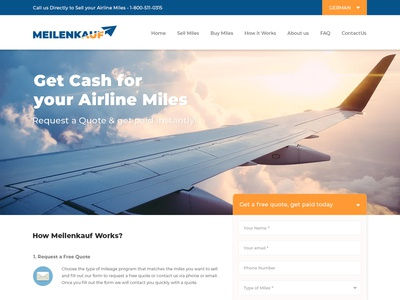 Website Design for Airlines miles selling and Buying Company