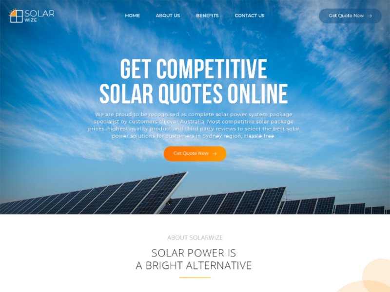 Web Page Design for Solar Panel Installation Company by Ritu