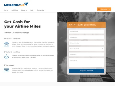 Web Page designed for Meilenkauf - to cash your Airlines Miles