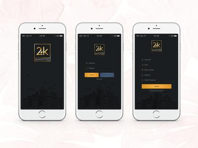 24k Splash, login and signup screens