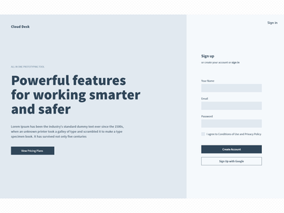 cloud desk Signup Page wireframe