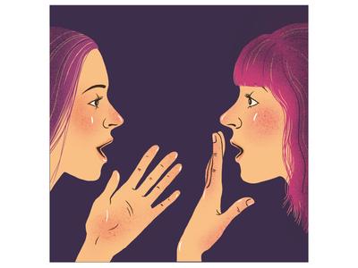 Something about gossip woman graphics vector splenitis communication conversation girls profiles people illustrations