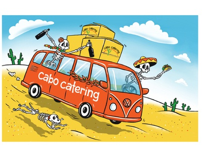 Catering illustrations illustration graphics characters advertising food restaurant bus skeletons catering