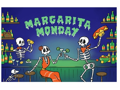 Catering 3 party vacation cocktails characters bar national skeleton illustration graphics