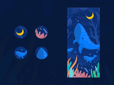 Submarine illustration app illustration ux type design ui