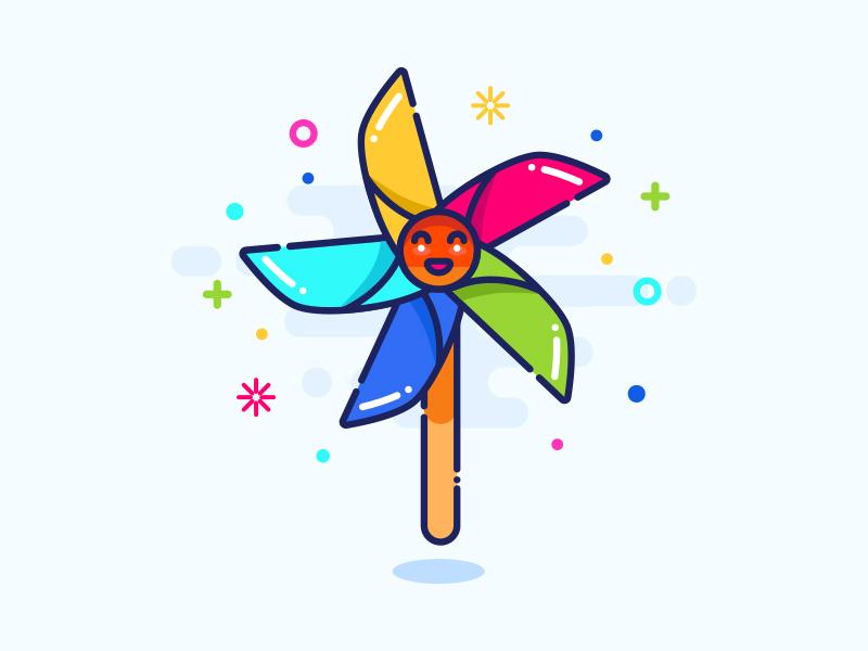 The windmill type ux illustration icon ui design