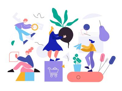 Thin legs illustrations typography type ui design