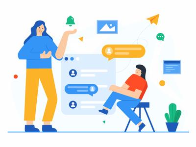 Chat illustrations illustration type ui design