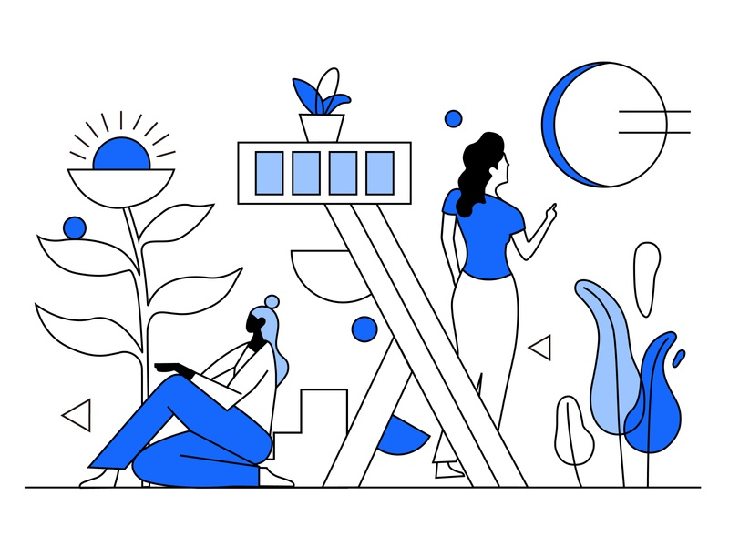 Line surface combined with illustration illustration type ui design