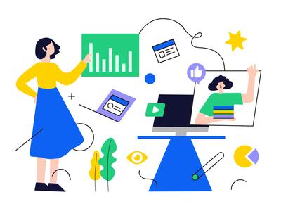 Geometric illustration of characters illustration type ui design