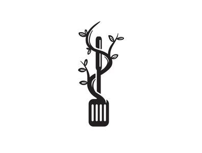 Natural Food Logo plant tree vegan food restaurant kitchen spatula food nature natural simple design simple logo dual meaning classical logo for sale classic illustration vintage vector logo