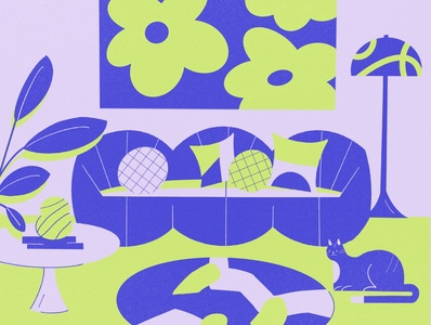Home art direction quarantine decoration vintage 60s art home sofa interiordesign editorial illustration brand green illustration design