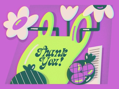 Thank You! neon colors market bags flowers women in illustration green editorial art design editorial illustration illustration