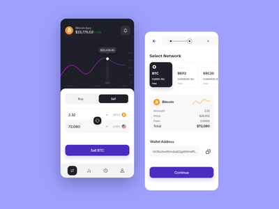 Cryptocurrency exchange app template concept design minimal ui desgin exchange trend app design cryptocurrency