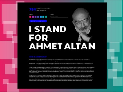 "Single Page for ''I Stand for Ahmet Altan"" minimal website typography vector logo ui ux ux design design"