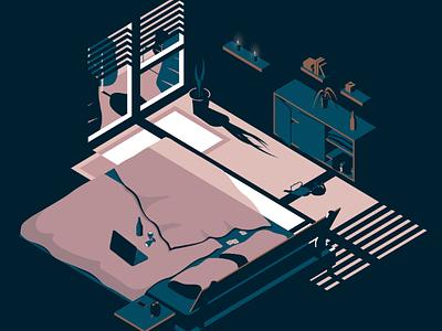 Bedtime Stories bed vector art isometric illustration