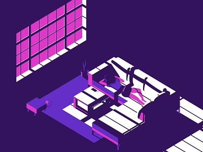 Chillin on couch character design living room isometric illustration music girl illustration