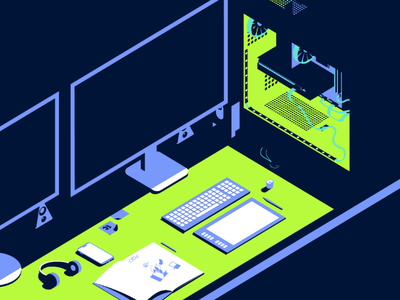 Back to the office office workplace graphic design neon colors isometric illustration illustration