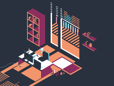 Office Nights office isometric illustration