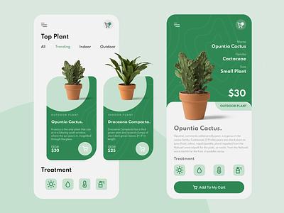 Plant Shop UI/UX Design 🌵 cactus uiuxdesign uxdesign uiux ux sketch apple clean uidesign figmadesign figma apps ui mobile app design app
