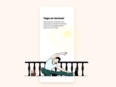 Yoga on terrace! landing page mark mobile ios illustrator creative clean character branding art minimal flat web animation ux ui vector design app illustration