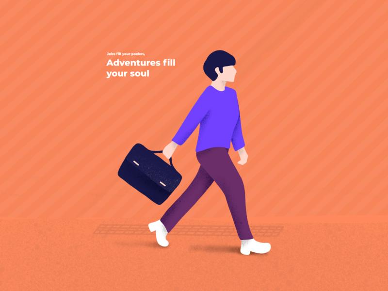 Adventure ready job inspirational daily procreate travel man layout mobile doodle creative design vector interaction trending ux ui illustration app