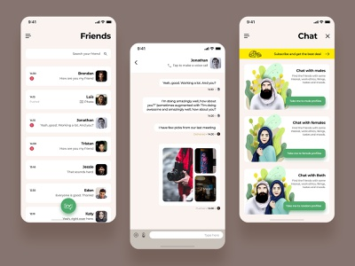 Chat prototype interface layout mobile app female male chat creative branding design vector animation interaction ux ui trending illustration app