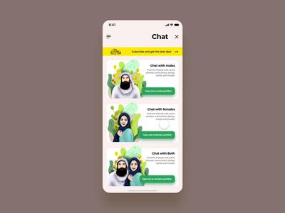 Chat design art designer layout concept women man arabic creative design branding vector animation interaction ux ui trending illustration app