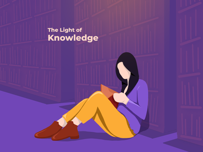Knowledge reading app daily inspiration character library knowledge reading girl creative design vector animation interaction ux ui trending illustration app