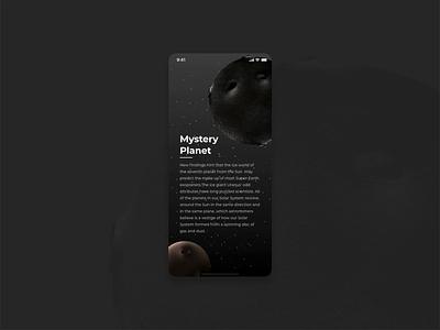 Planet mobile ui interface designer star info universe sky typography creative design animation interaction ux ui trending illustration app