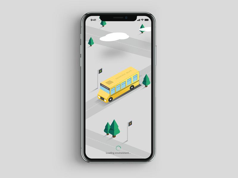 The Bus branding trending app isomatric vector map illustration environment bus stop bus illustration