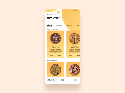 Food ordering with ease online ordering modifiers food ordering tabs pizza card motion design interaction animation ux ui app ordering food