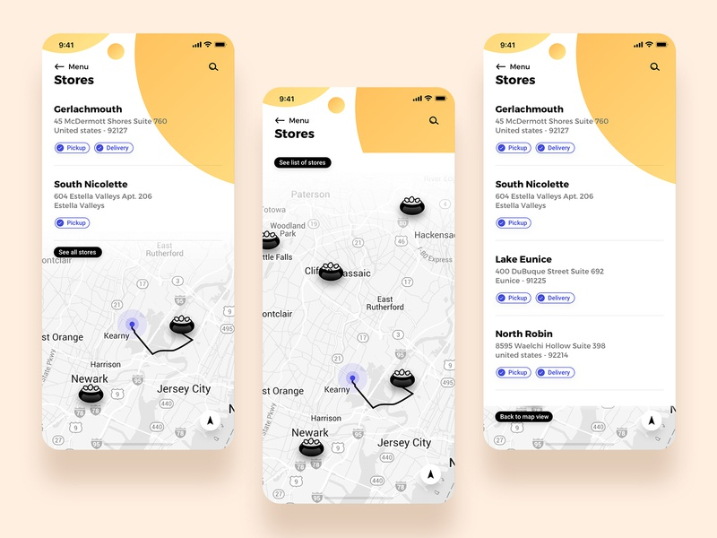Stores trending list view search address amenities food location locator resturant concept ux ui app map view map stores