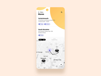 Map Interaction interaction animation ux ui stores search restaurant locator location map map view list view food concept app amenities address