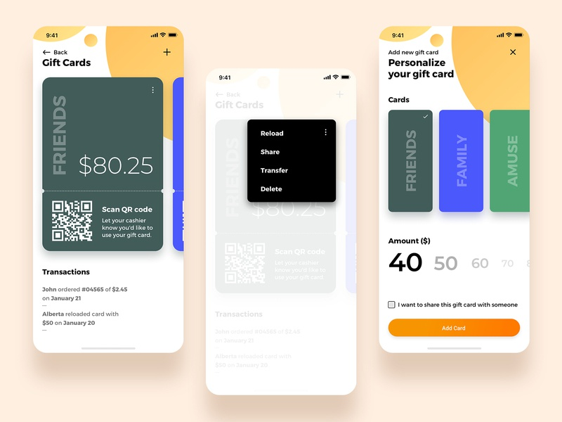 Gift cards reload transfer trending popover popup scan qrcode personalize amount category friends sharing card food ui ux app giftcards giftcard gift card