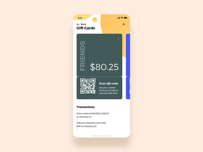Personalized Gift cards card personalized category qrcode scan friends transaction transfer reload share amount food trending interaction animation ui ux app giftcard gift card