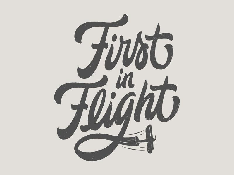 First in Flight north carolina first in flight biplane texture vector script lettering handlettering