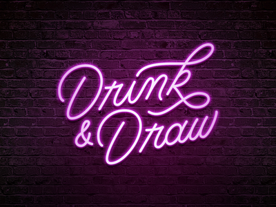 Drink & Draw monoline sign neon drink and draw los angeles la calligraphy lettering hand lettering