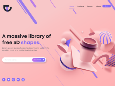 3d library Landing Page logo figmaafrica figma illustrator ui 3d animation 3d