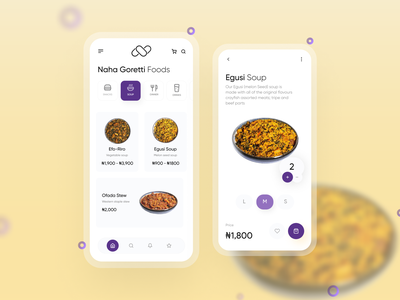 Naha Goretti foods mobile app food app food ux mobile app design ui figmaafrica figma