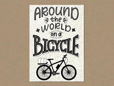 Lettering art design for cyclist. illustration doodle typography design lettering vector