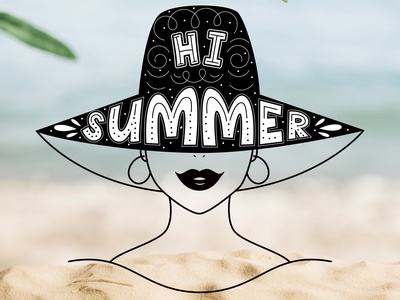 Summer illustration with lettering. cartoon logo typography doodle illustration lettering vector