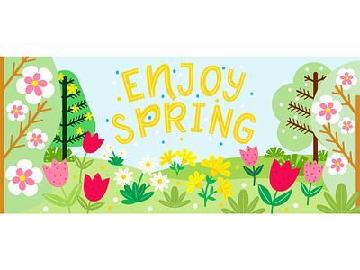 Spring banner with lettering forest spring flat illustration typography doodle illustration design lettering vector