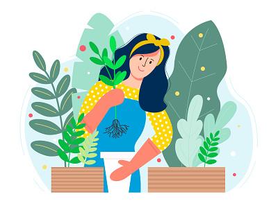 Vector illustration of a gardener girl character flower gardener flat design flat illustration illustration vector