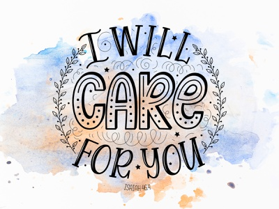 Bible vector lettering: I will care for you. (Isaiah 46.4) bible bible design bible verse quote doodle typography design lettering illustration vector