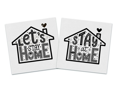 """Lettering illustrations: """"Let's stay Home"""" silhouette home quote doodle typography design lettering illustration vector"""
