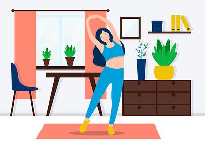 Vector illustration for a fitness blog. blogger fitness blog fitness girl girl homefitness fitness flat interior interior cartoon flat design illustration vector