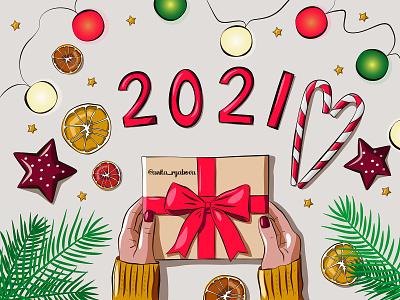 New Year's flat lay. Vector illustration for blog. new year card christmas card blog post cartoon 2021 new year doodle flat illustration illustraion sketch flat lay vector